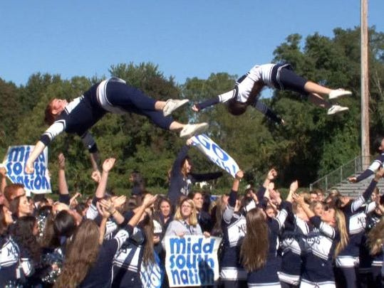 Middletown South Nation compete in the Red Zone Road Show Spirit Competition.