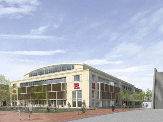 An artist's rendering of the proposed multi-sport practice facility at Rutgers.