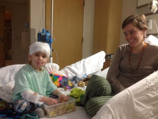 Lacey and Garnett Spears in his room at Nyack Hospital,