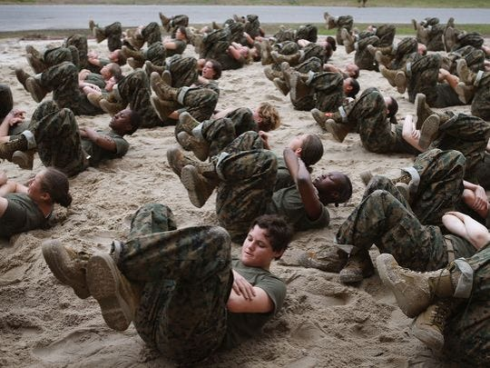 Female Marine recruits take part in some unscheduled