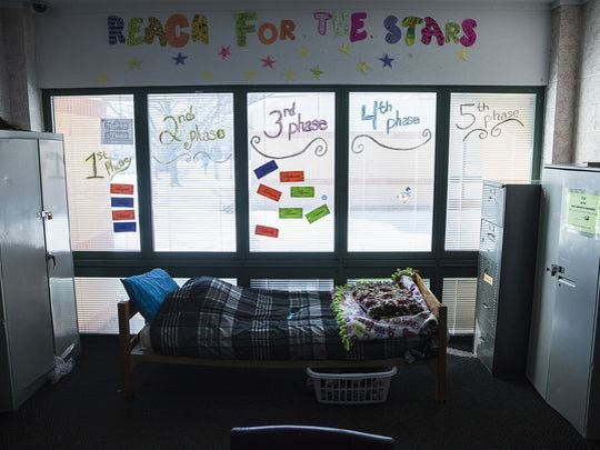 """The common area for residents of one of several """"cottages"""" at the Youth Opportunity Center Thursday. The YOC is starting a program in New Castle that will offers housing and counseling to victims of sex trafficking."""