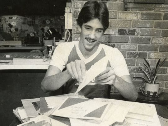Manalapan's Ed Zucker sorts through piles of mail from prospective colleges in 1982. He eventually chose Rutgers.