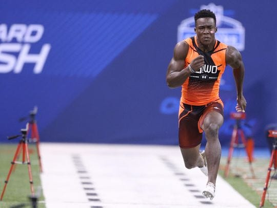 Miami Hurricanes wide receiver Phillip Dorsett, now Colts wide receiver, runs the 40-yard dash during the 2015 NFL Combine at Lucas Oil Stadium.