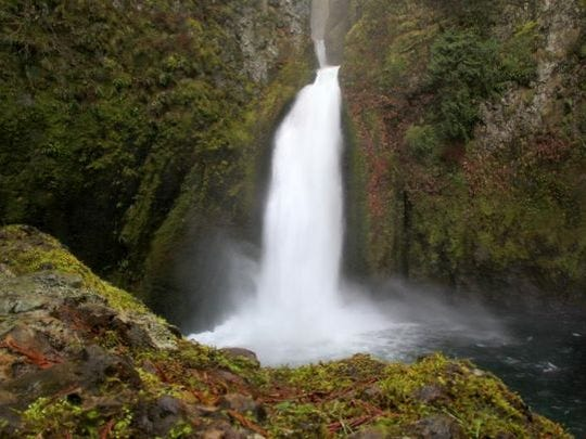 Wahclella Falls thunders into a plunge pool at the