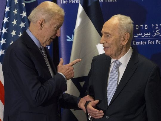 Vice President Biden meets with leading Israeli statesman Shimon Peres, in the Peres Center for Peace, in Jaffa, south of Tel Aviv Tuesday. An American tourist was stabbed to death in an attack not far from where this meeting took place, according to Israeli police.