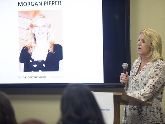 Kris Cahak, a psychiatric nurse, speaks about her daughter, Morgan Pieper's, 15, death by suicide during the Kids in Crisis town hall at Mid-State Technical College in Stevens Point, Wednesday, March 2, 2016.