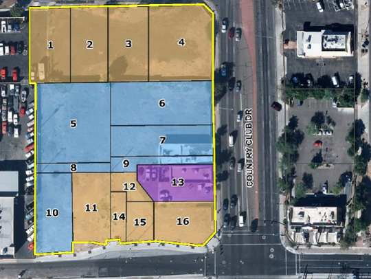 A map of the redevelopment site on the northwest corner