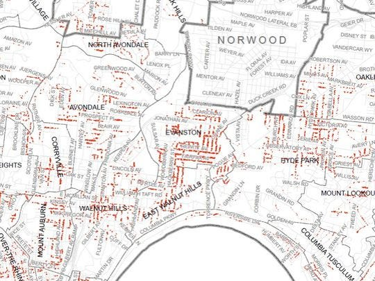 A portion of the map of Greater Cincinnati Water Works'
