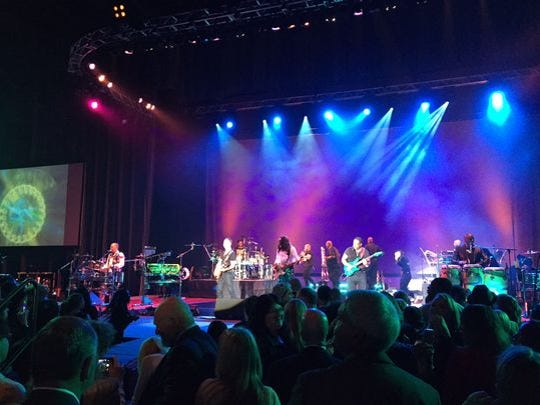 "Members of Earth, Wind and Fire on stage inside the Lansing Center as part of the Celebrating the Lansing Promise with Earvin ""Magic"" Johnson dinner Thursday, April 21, 2016."