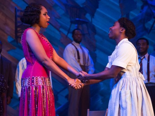 Jennifer Hudson, left, and Cynthia Erivo perform in the Broadway revival of 'The Color Purple.'