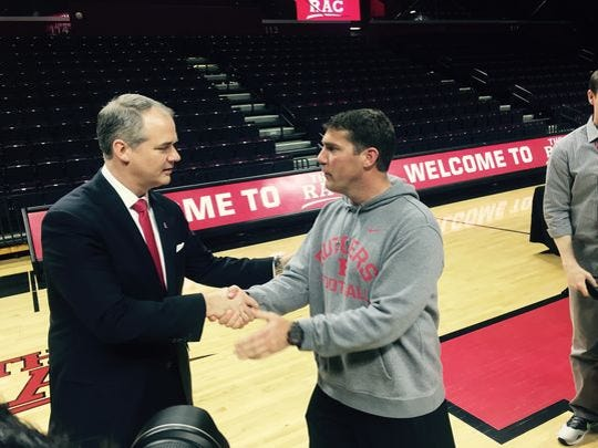 Rutgers men's basketball coach Steve Pikiell, left,