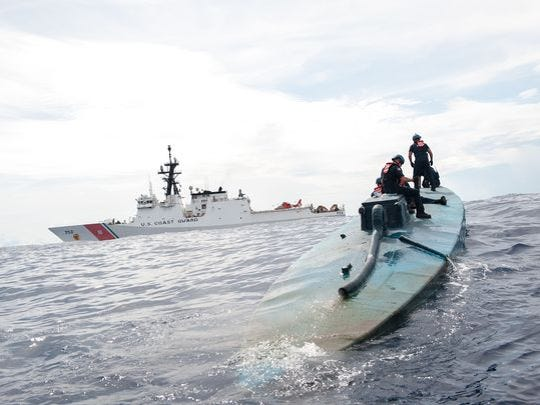 Drug runners have become increasingly sophisticated in their attempts to evade deterction. Here, a Coast Guard Cutter Stratton boarding team investigates a self-propelled semi-submersible interdicted in international waters off the coast of Central America. The Air Force brings critical assets and experience to the table that no other service or agency has, said Coast Guard Rear Adm. Christopher Tomney, director of JIATF-South.