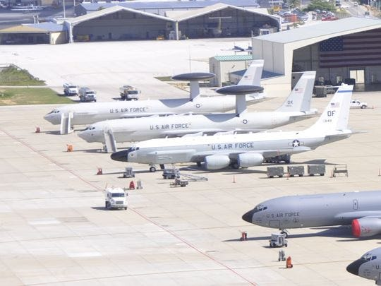 A pair of E-3 Sentry Airborne Warning and Control System aircraft at Forward Operating Location Curacao can provide aerial detection and monitoring of suspected air and maritime drug trafficking activities.