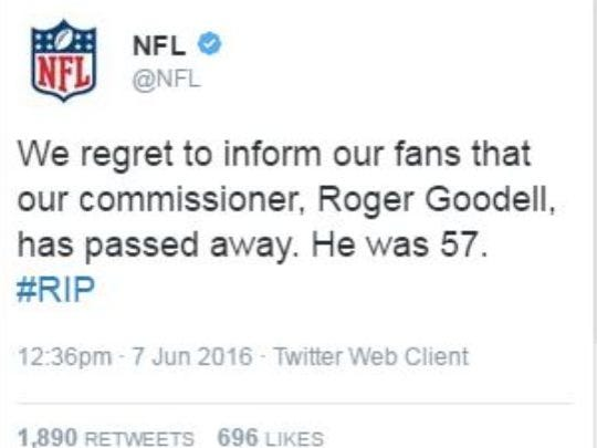 The NFL Twitter account was hacked.