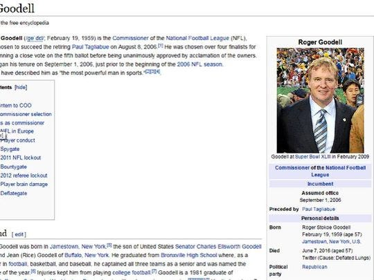Roger Goodell's Wikipedia page was changed Tuesday,