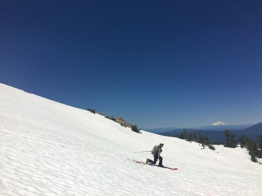 A view of Mt. Shasta is among the highlights of skiing Eagle Peak in Lassen Volcanic National Park.