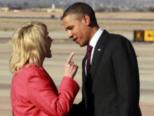An exchange between Gov. Jan Brewer and President Barack