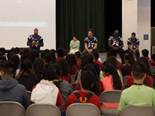 SoCal Coyotes at Thomas Jefferson Middle School for leadership expo.