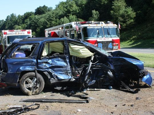 A pregnant woman suffered broken bones and cuts but no pregnancy issues after a head-on collision in July on Route 15 in Sparta.