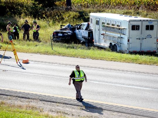 Authorities shut down traffic on eastbound I-96 as they investigate the crash.