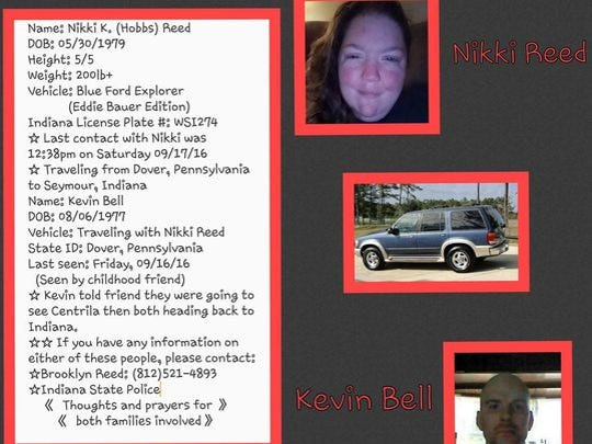 A missing persons flier shared by family and friends of Nikki Reed and Kevin Bell after the couple went missing over the weekend.