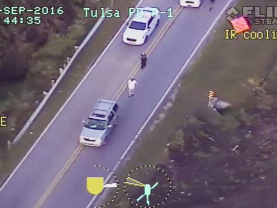 A frame grab from video released by the Tulsa Police