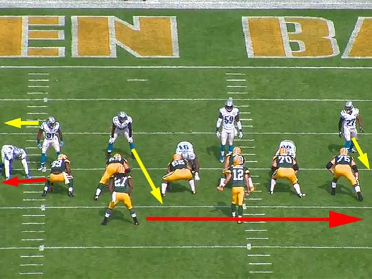 Aaron Rodgers motions his players out to diagnose Detroit's defensive intentions.