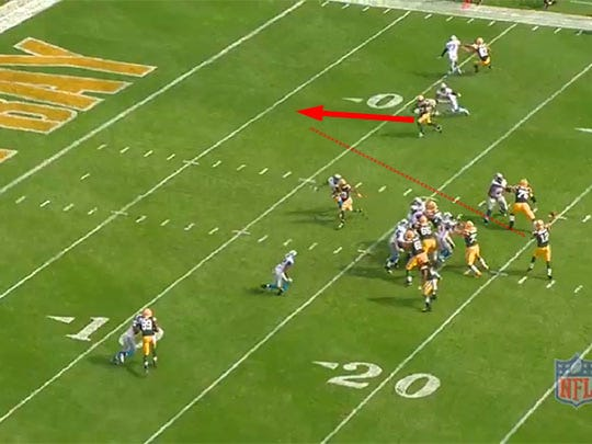 Aaron Rodgers has a clear passing lane to deliver the touchdown throw.