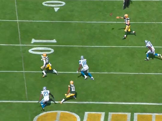 Tight end Richard Rodgers breaks free into the flat for an easy touchdown.