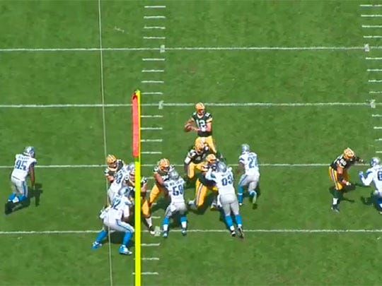Once again, a Lions blitzer has a clear path, but Rodgers is able to get rid of the ball before the hit arrives.