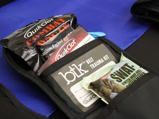 Rapides Parish law enforcement officers soon will receive training on how to use Quick Clot Trauma Belt Pack, like this one. Officers, already trained in basic first aid, are required to provide aid to suspects before other help arrives.