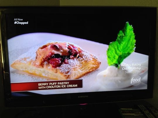 Fernando Ruiz's dessert: Berry puff pastry and crouton ice cream with strawberry papaya basil creme anglaise.