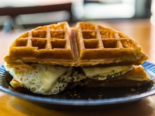 The waffle sandwich from Breakfast Bum.