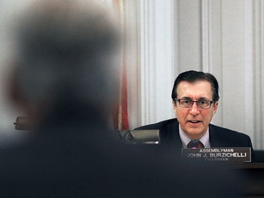 Assembly Appropriations Committee Co-chair John Burzichelli questioning Jeff Tittel of the Sierra Club as Tittel testified against a bill to allow the governor to profit from writing a book while in office.
