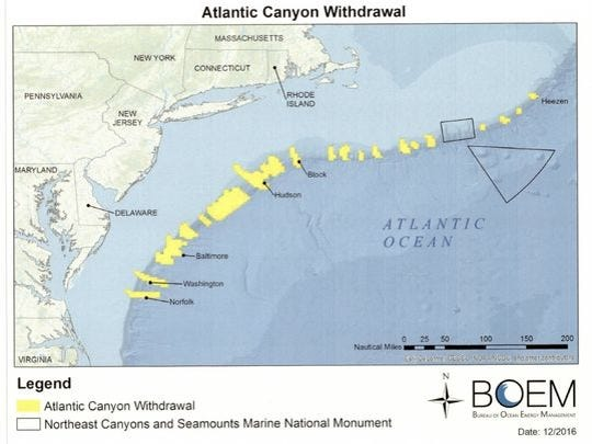 The areas in yellow show Atlantic canyons where oil and gas drilling was banned by the Obama administration. Triangle and rectangle off Cape Cod indicate national monument.