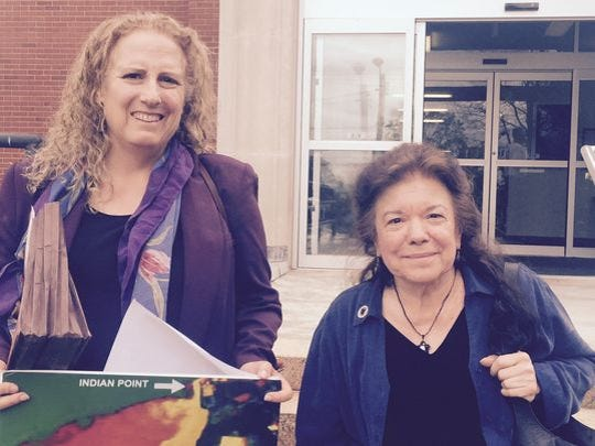 Susan Shapiro (left), the owner of Goshen Green Farms in Orange County, and Manna Jo Greene, Hudson River Sloop Clearwater's environmental director, after speaking at a Public Service Commission hearing in May 2016.