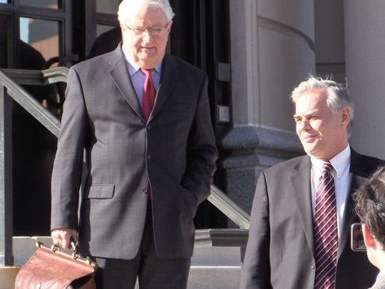 Ramapo Supervisor Christopher St. Lawrence, right, leaves federal courthouse in White Plains with his attorney Patrick Burke of Suffern