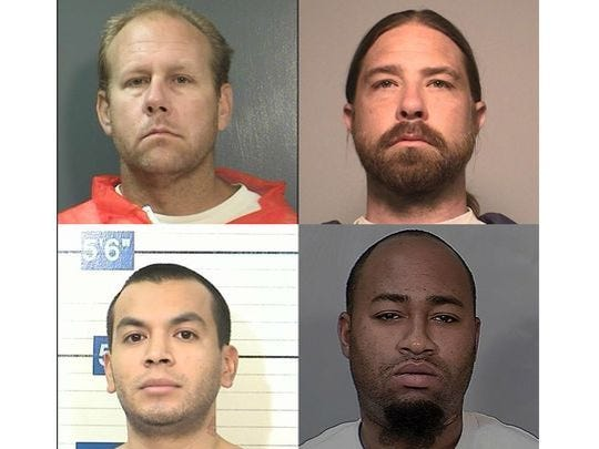 Four former inmates who filed jail toilet lawsuits have been offered settlements by Riverside County. Clockwise, from top left, with amounts: David Ziemke, $8,000; Josh Snyder, $12,500; Keith Appling, $5,000; Frank Torres, $8000. Snyder rejected the offer.