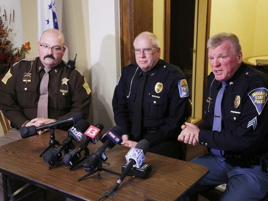 Carroll Counth Sheriff Tobe Leaszenby, from left, Delphi Police Chief Steve Mullins and Sgt. Kim Riley of the Indiana State police announce that two bodies had been found next to Deer Creek Tuesday, February 14, 2017, east of Delphi. Riley said foul play is suspected, however, he would not say if the bodies were that of missing Delphi teens Liberty German and Abigail Williams, both 13.
