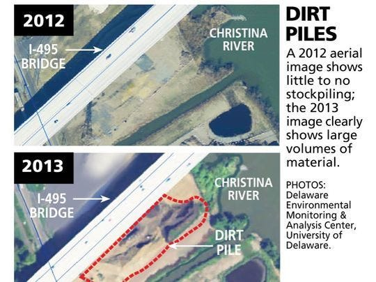 Images show mounds of dirt that were placed near the I-495 bridge in 2013 causing emergency repairs in 2014. DelDOT announced in April that it is suing four companies for their involvement in the matter.