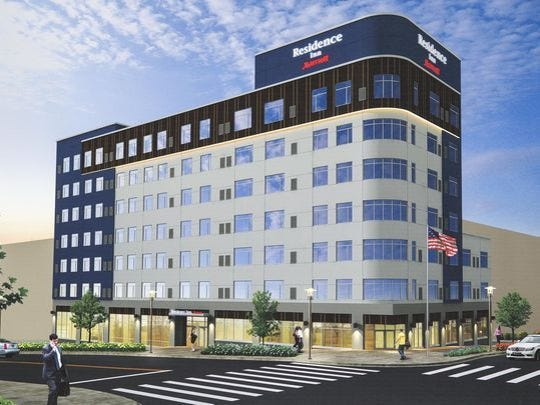 This artist's rendering shows the concept plan for the 98-room Residence Inn now under construction in Wilmington.