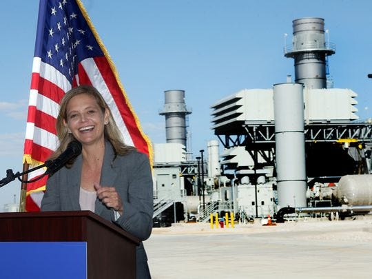 El Paso Electric CEO Mary Kipp speaks at a ceremony last year marking the completion of the Montana Power Station in far East El Paso County.