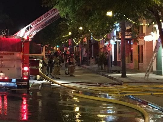 Crews battled a fire at a two-story building in downtown Ventura on April 17.