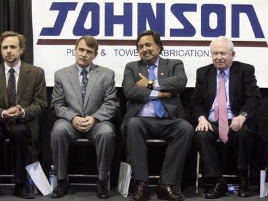 """William """"Bill"""" Sanders, far right, is a founder of the Borderplex Realty Trust. He sat next to former New Mexico Gov. Bill Richardson during a 2010 announcement in Santa Teresa."""