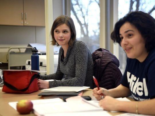 Ramapo graduate students Tara McFadden, left, and Jen