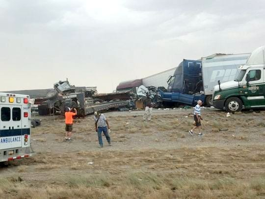 Another scene from the 25-vehicle pileup in New Mexico near the Arizona state line on June 19, 2017. Six people were killed.
