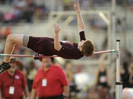 Forestburg's Skyler Sandusky finished third in the Class A high jump in May.