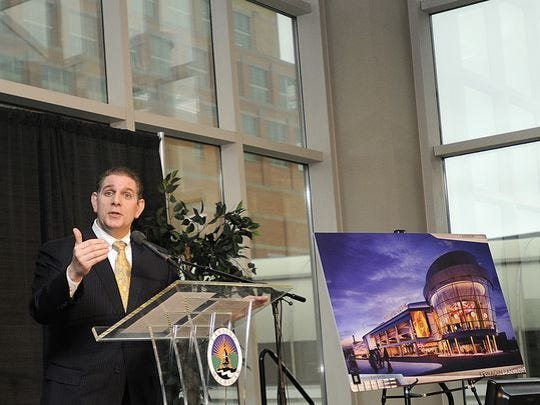 Lansing Mayor Virg Bernero touted in 2012 the benefits of a casino in downtown Lansing. The tribe involved in the project didn't receive this week federal approval to move the project forward.
