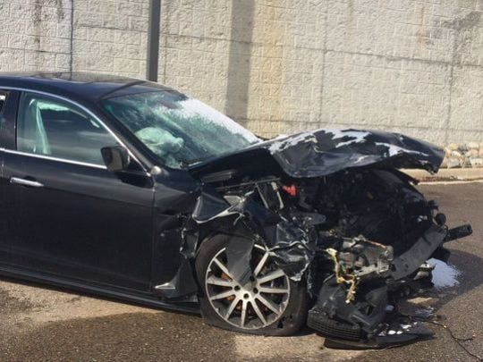 Police say the driver of the Maserati was traveling at an estimated 144 m.p.h. when he slammed the Italian sports car into another vehicle