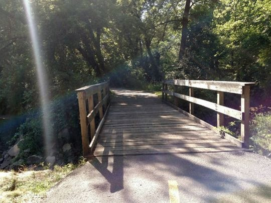 A bridge on the Clive Greenbelt Trail.